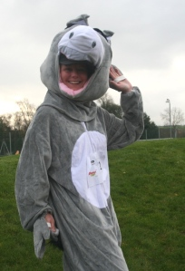 Amanda Pritchard, head at St Teresa's Catholic Primary School, dresses as a donkey for CAFOD's Nativity Run