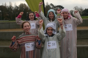 Jess, 11, Flo, 11, Millie, 10, Emily, 11, and Rebecca, 10, dressed up as shepherds for the run.