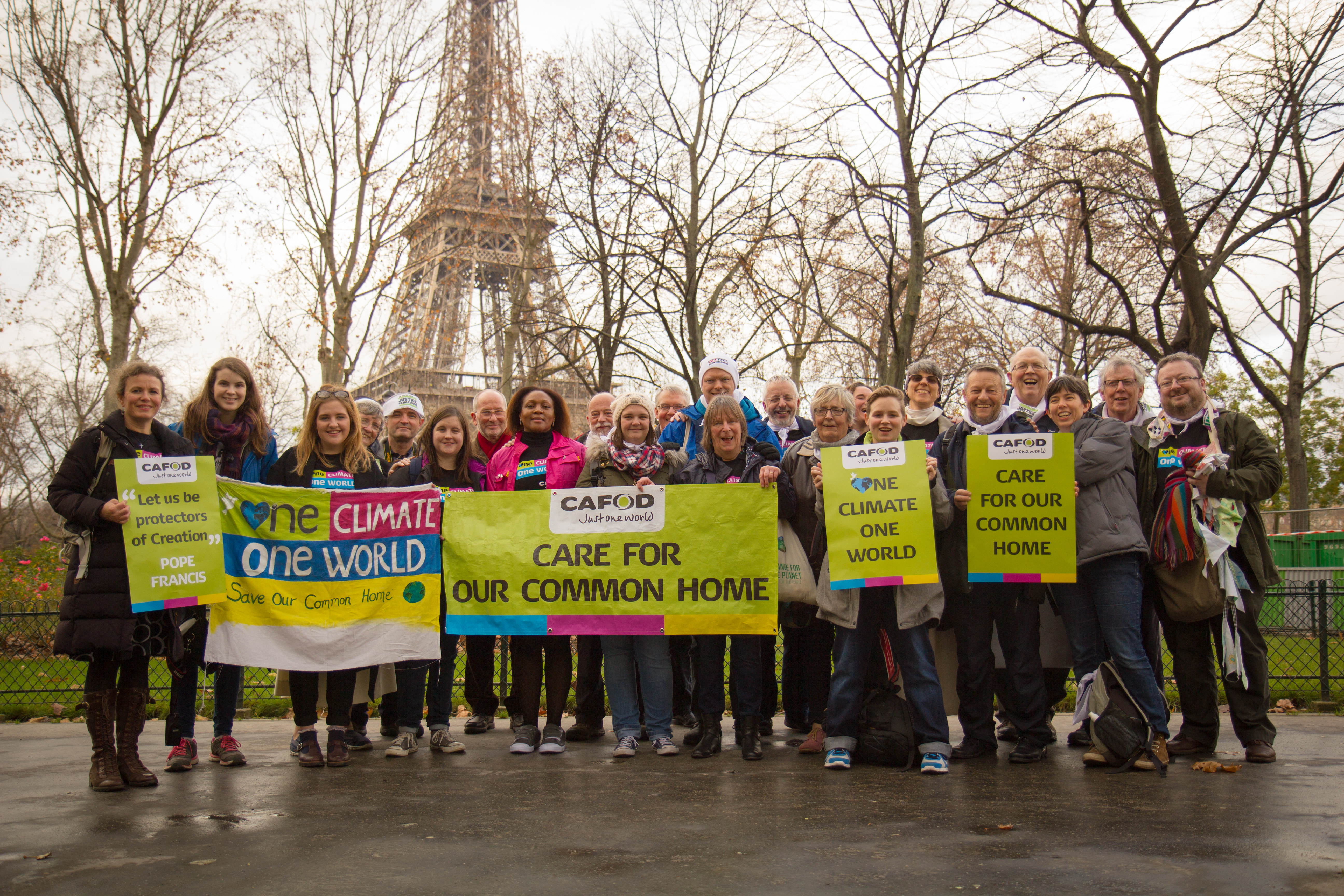 Bernard White (second right) travelled to Paris with CAFOD supporters to call for a climate change agreement (Liam Finn CAFOD) (002).jpg