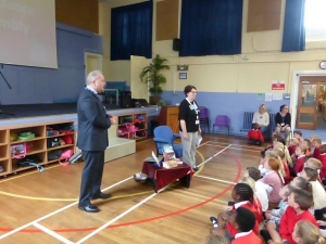 Celebration Assembly for CAFOD Lent Fast Day Fundraising – Clara Nickols at our assembly to accept our CAFOD cheque